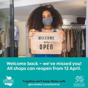 Covid poster - shops reopen 12.04.2021